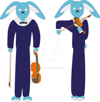 Blue hare violinist by VannaMonkey1