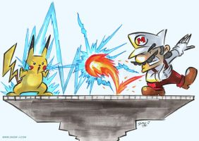 Pikachu VS Mario by snow-j