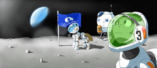 arrival of bronies to the moon. by VinilyArt