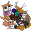 Mommy Cat and Kittens Play With Yarn
