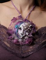Art doll Necklace 'Purple' by cliodnafae27