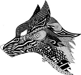 Zentangle Fox by fallowsingerwolf