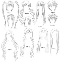 Anime hair brushes 2 by OrexChan