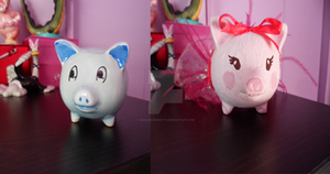 Custom Painted Piggy Bank ~ Before and After by Deus-Marionette