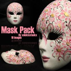 Pink flower mask pack by NickiStock