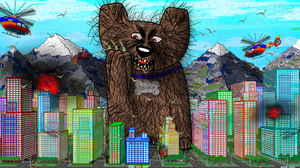 Scary Giant Dog Terrorizing City by Scott-A-T-art