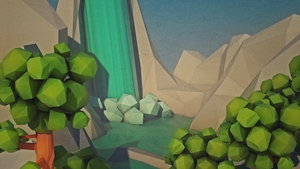 Low poly landscape | Waterfall river by Pieter12