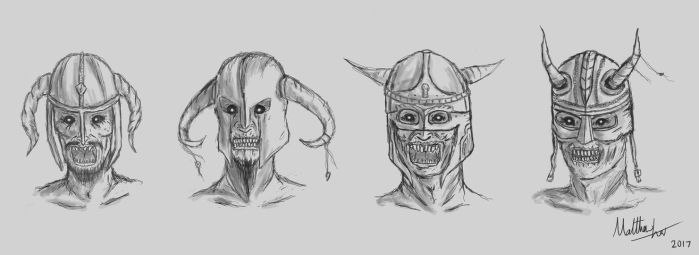 Undead Draugr Helmet Concept Design Sketches by MattzProductionz