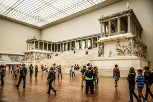 Temple And People At A Museum by Rikitza