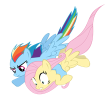 Rainbrow Dash and Fluttershy to the rescue. by MasterRottweiler