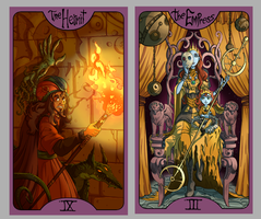 .Lovecraft Tarot: The Empress + The Hermit. by MalakiaLaGatta