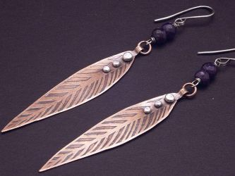 Etched Copper leaves with silver rivets. by WiredElements