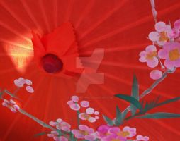 Orange Parasol with Light by 10000Greetings