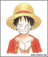 One Piece - Luffy hand drawing by SergiART