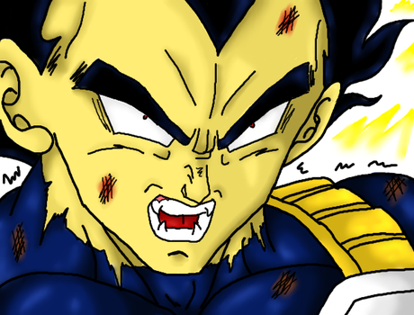 Vegeta transforming_Colored by Nei-Ning
