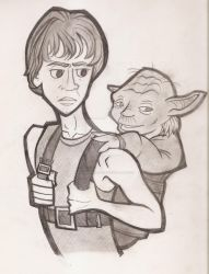 Luke and Yoda by RaccooninaSuit
