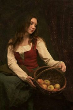 Girl with apples by Galadiera