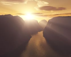 Dawn in a canyon by azus