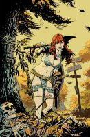 Red Sonja: Bed of Leaves color version by deankotz