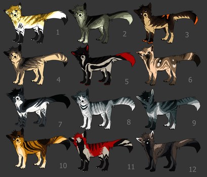 fox/wolf/cat adoptables {CLOSED} by HappyHappyA