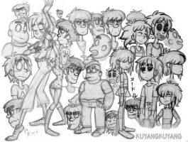 gorillaz rough sketches by Kuyangkuyang