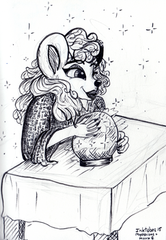 Inktober 15  - Mysterious + Mouse (f) by DarkMysteryCat