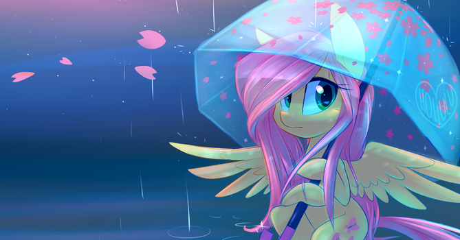 Fluttershy in the Rain by Hollulu