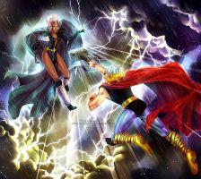 Commission: Storm vs Thor by alexielart