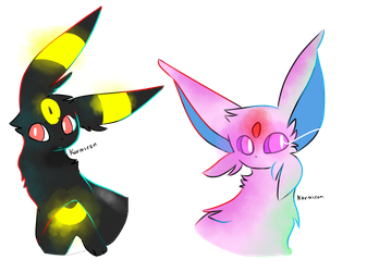 Umbreon + Espeon Doodles by karmicon