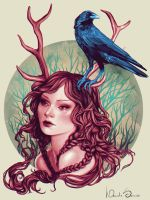 The Girl and The Crow by agnes-green
