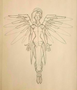 Overwatch Mercy Sketch by alexzemke