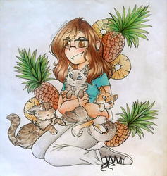 Pineapples and Cats .:Gift:. by CinnamonAurora