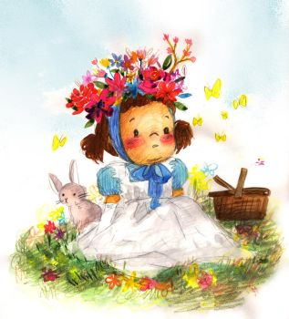 A little girl and spring flowers by funkyatelier