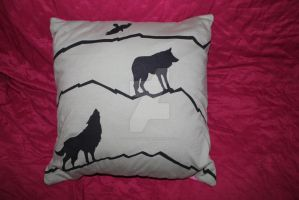 recycled t-shirt cushion with wolves by saoirsesushi