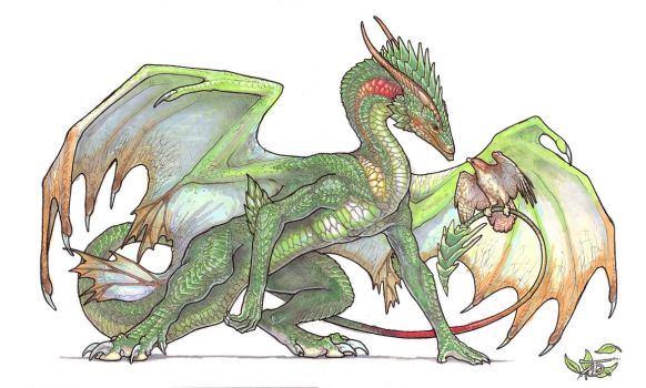 Dragon of Leaves by KaiserFlames