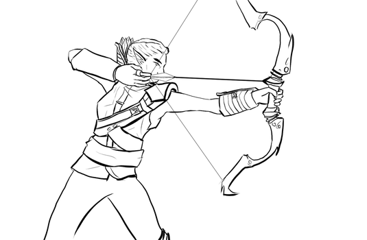 Delmira the Archer {Line Art} by Storming777