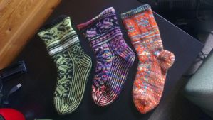 Three pair of the Lilli socks by KnitLizzy