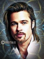 Brad Pitt painging by perlaque