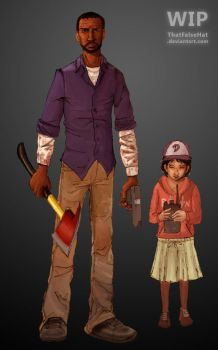Lee and Clem - WIP by ThatFalseHat
