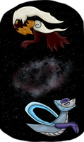 Blue Moon Cresselia, Blood Moon Darkrai by hammyhammy22