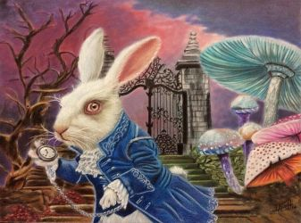 White rabbit of Alice Wonderland by iSaBeL-MR