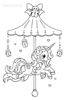 Holiday Carousel Pony :Gingerbread Pony: Lineart by YamPuff
