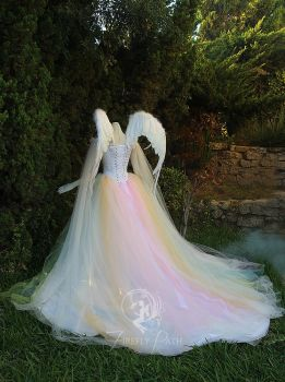 Angelic Rainbow Bridal Gown and Wings back view by Firefly-Path