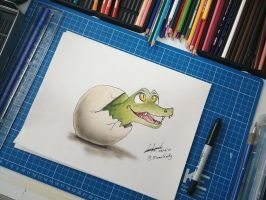 Crocodile hatching from egg by EinariHusky