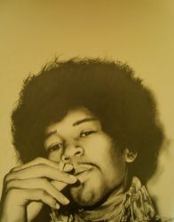 Jimi Hendrix Drawing by Silent-Colour