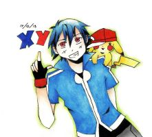 XY: Ash and Pikachu by blue-ember333