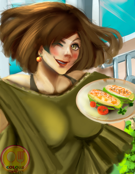 Color and Dishes series :01:stuffed zucchini by fanartbr