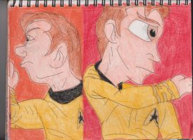 Kirk Slapping Himself by RozStaw57