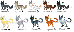 Warrior Cat Adopts 2/10 OPEN by daydreamingdragon123