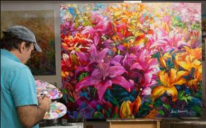 Lilies Oil Painting on canvas by Leon Devenice by leondevenice